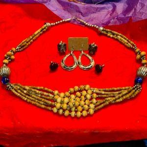 BoHo Necklace~Earring Lot~1 pr is 925 Sterling